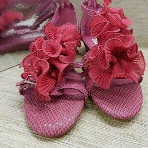 Raspberry Monaco Snake Embossed Leather Sandals